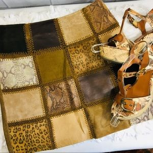 Hugo Buscati 100% Leather Patchwork Skirt 8